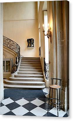 Paris Rodin Museum Entry Staircase And Architecture Canvas Print by Kathy Fornal
