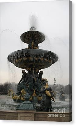 Paris Romantic Sculpture Fountain - Place De La Concorde Fountain Square Canvas Print by Kathy Fornal