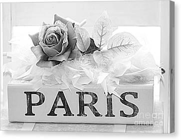 Paris Roses Books Photography  - Dreamy Romantic Paris Black White Books Roses Art Deco  Canvas Print