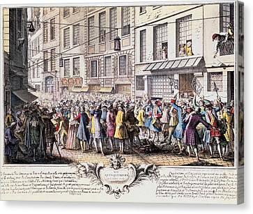 Paris. Rue Quinquempoix, 1720. Scene Canvas Print by Everett