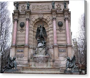 Paris Saint Michael Archangel Monument - Paris Famous Landmarks St. Michael Archangel Monument Canvas Print by Kathy Fornal