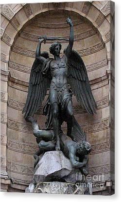 Paris - Saint Michael Archangel Statue Monument - Saint Michael Slaying The Devil Canvas Print by Kathy Fornal