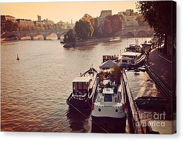 Rivers In The Fall Canvas Print - Paris Seine River Fall Autumn - Boats Along The Seine River by Kathy Fornal