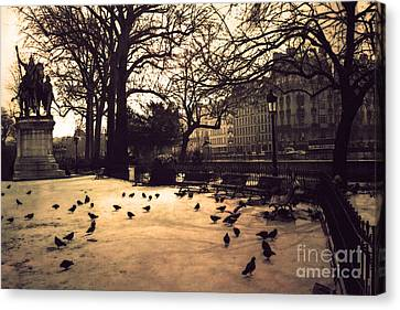 Paris Sepia Photography - Notre Dame Cathedral Courtyard Monuments Statues With Pigeons Canvas Print by Kathy Fornal