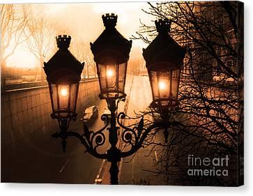 Paris Sepia Street Lanterns Lamps - Paris Sepia Autumn Fall Sparkling Sunset Night Lanterns  Canvas Print by Kathy Fornal
