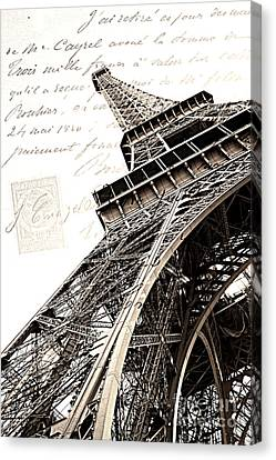Paris Sepia Vintage Eiffel Tower With French Script Lettering - Letters From Paris  Canvas Print by Kathy Fornal