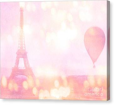 Paris Shabby Chic Romantic Dreamy Pink Eiffel Tower With Hot Air Balloon Canvas Print by Kathy Fornal