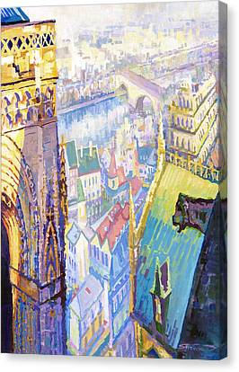 Paris Shadow Notre Dame De Paris Canvas Print by Yuriy  Shevchuk