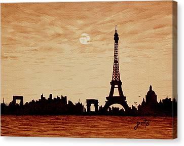 Paris Silhouettes Under Moonlight Coffee Painting Canvas Print by Georgeta  Blanaru