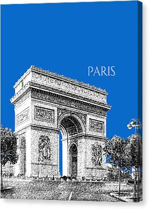 Paris Skyline Arc De Triomphe - Blue Canvas Print by DB Artist