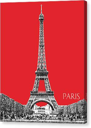 Paris Skyline Eiffel Tower - Red Canvas Print
