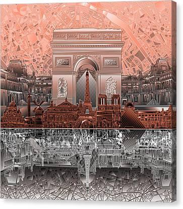 Arc De Triomphe Canvas Print - Paris Skyline Landmarks 2 by Bekim Art