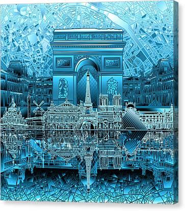 Arc De Triomphe Canvas Print - Paris Skyline Landmarks 3 by Bekim Art