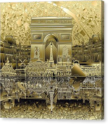 Paris Skyline Landmarks 4 Canvas Print