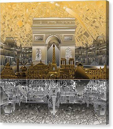 Paris Skyline Landmarks 5 Canvas Print