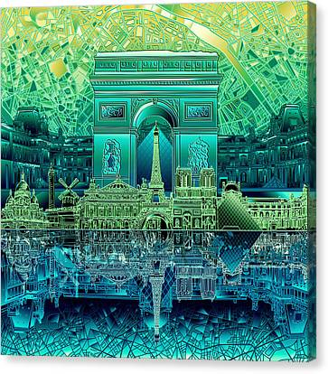 Arc De Triomphe Canvas Print - Paris Skyline Landmarks 6 by Bekim Art