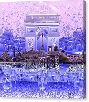 Arc De Triomphe Canvas Print - Paris Skyline Landmarks 7 by Bekim Art