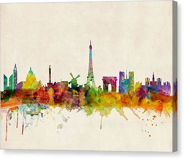 Silhouettes Canvas Print - Paris Skyline by Michael Tompsett