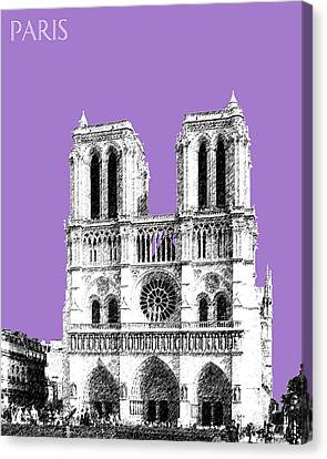 Paris Skyline Notre Dame Cathedral - Violet Canvas Print by DB Artist