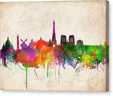 Arc De Triomphe Canvas Print - Paris Skyline Watercolor  by Bekim Art