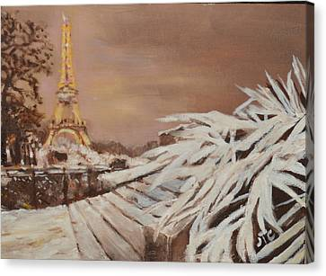 Paris Sous La Neige Canvas Print by Julie Todd-Cundiff
