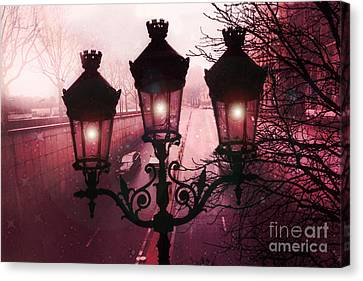 Paris Street Lamps Architecture - Paris Romantic Dark Rouge Rose Street Lamps Lights And Lanterns  Canvas Print by Kathy Fornal