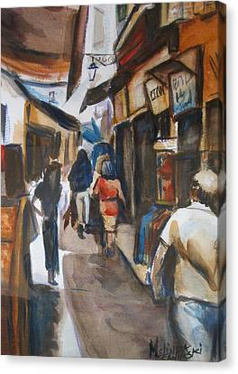 Paris Street Scene Canvas Print by Melinda Saminski