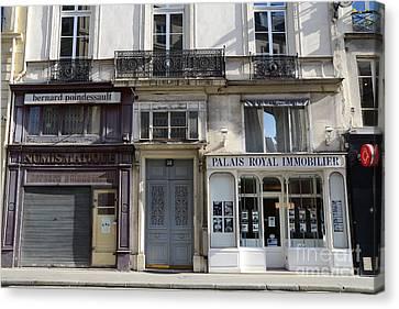 Paris Street Scenes - Paris Palais Royal Architecture Buildings - Paris Door Windows And Balconies Canvas Print by Kathy Fornal