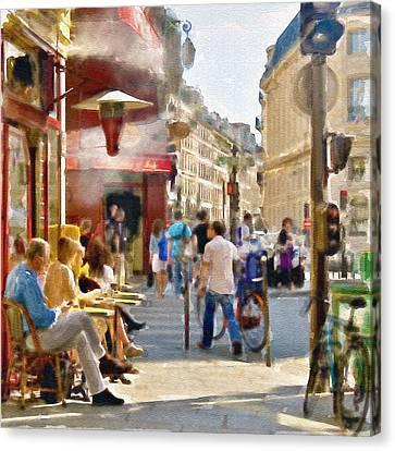 Europe Digital Art Canvas Print - Paris Streetscape Watercolor by Marian Voicu
