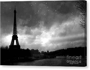 Paris Surreal Dark Eiffel Tower Black White Starlit Night Scene - Eiffel Tower Black And White Photo Canvas Print