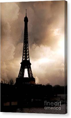 Paris Surreal Dreamy Eiffel Tower Sepia Print With Storm Clouds Canvas Print by Kathy Fornal