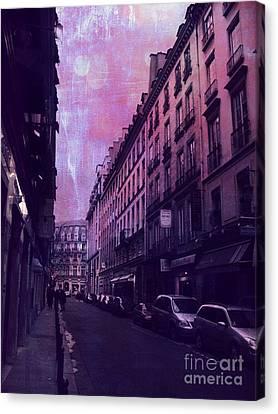Paris Surreal Street Photography - Paris Fantasy Purple Street Scene  Canvas Print by Kathy Fornal