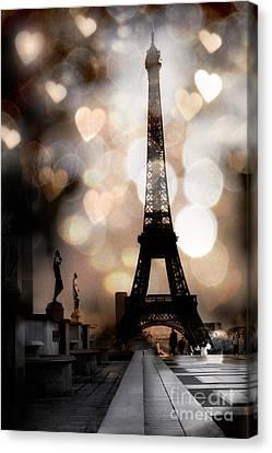 Paris Surreal Fantasy Sepia Black Eiffel Tower Bokeh Hearts And Circles - Paris Sepia Fantasy Nights Canvas Print by Kathy Fornal
