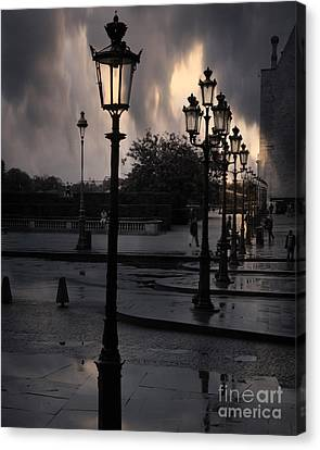Paris Surreal Louvre Museum Street Lanterns Lamps - Paris Gothic Street Lamps Black Clouds Canvas Print by Kathy Fornal