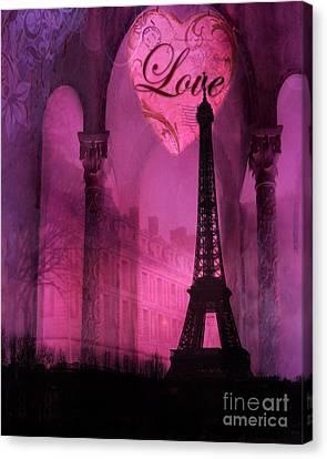 Paris Romantic Pink Fantasy Love Heart - Paris Eiffel Tower Valentine Love Heart Print Home Decor Canvas Print by Kathy Fornal