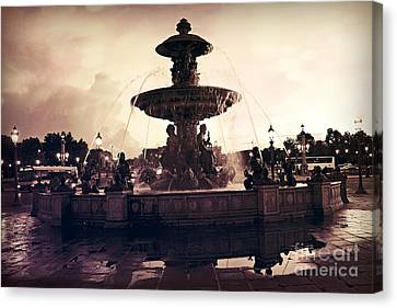 Paris Surreal Place De La Concorde Fountain - Paris Sunset Sepia Night Lights Fountain Square Canvas Print by Kathy Fornal