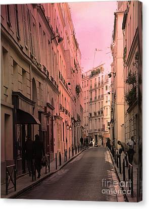 Paris Romantic Street Photography - Dreamy Paris Street Scene With Pink Sky Sunset Canvas Print by Kathy Fornal