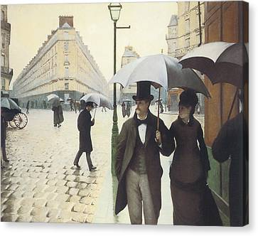 Paris The Place De L'europe On A Rainy Day Canvas Print by Gustave Caillebotte