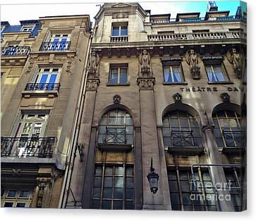 Paris Theatre District Daunou Art Nouveau Art Deco - Theatre Architecture Windows Balconies Doors Canvas Print by Kathy Fornal