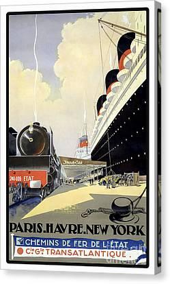 Paris To New York Vintage Travel Poster Canvas Print by Jon Neidert