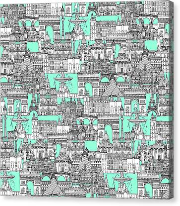 Paris Toile Aquamarine Canvas Print by Sharon Turner