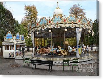 Paris Tuileries Park Carousel - Dreamy Paris Carousel - Paris Merry-go-round Carousel - Tuileries Canvas Print
