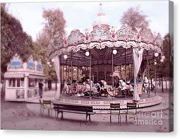 Paris Tuileries Park Carousel - Paris Pink Carousel Horses - Paris Merry-go-round Carousel Art Canvas Print by Kathy Fornal