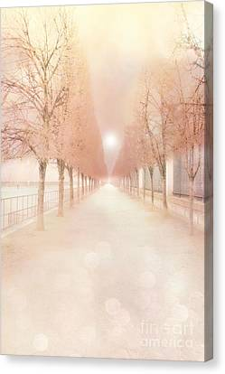 Tuileries Canvas Print - Paris Tuileries Row Of Trees - Paris Jardin Des Tuileries Dreamy Park Landscape  by Kathy Fornal