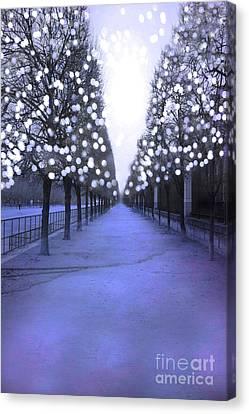 Paris Tuileries Row Of Trees - Purple Lavender Sparkling Twinkling Lights - Paris Sparkling Lights  Canvas Print by Kathy Fornal