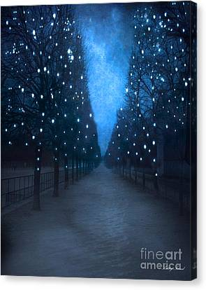 Paris Tuileries Trees - Blue Surreal Fantasy Sparkling Trees - Paris Tuileries Park Canvas Print by Kathy Fornal