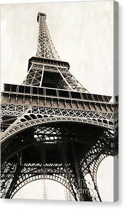 Paris Vintage Sepia Eiffel Tower Architecture - Eiffel Tower Sepia Fine Art Photography Canvas Print by Kathy Fornal