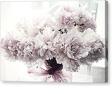 Paris Vintage Style Peonies Art - Paris Romantic French Lavender And Pink Peonies Canvas Print by Kathy Fornal