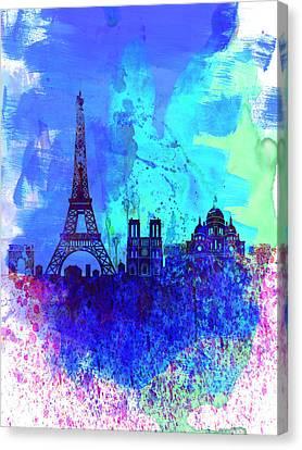 Paris Watercolor Skyline Canvas Print by Naxart Studio