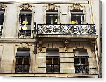 Paris Window Balcony Architecture - Paris Black Gold Building Black Balcony Window Art Canvas Print
